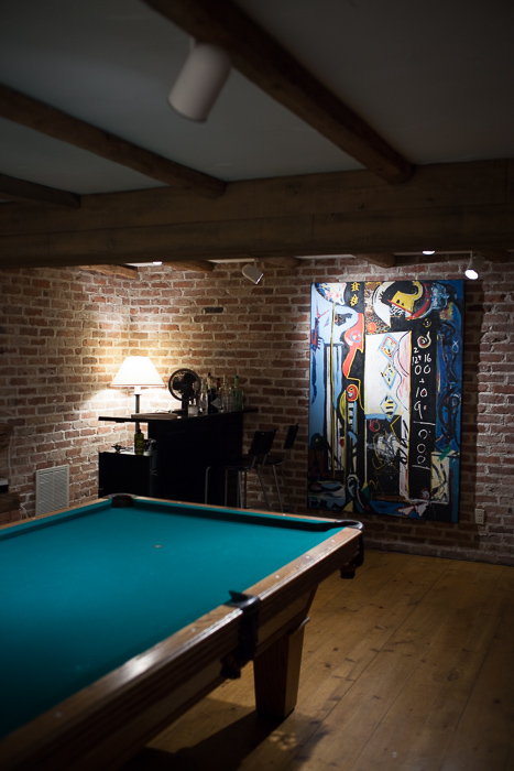 The basement at Two Barns has a pool at wet bar, the home of Literary Agent Ed Victor. Bridgehampton, NY