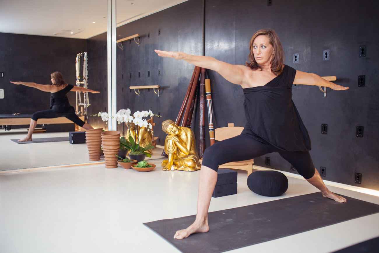 Donna Karan Practicing Yoga Portrait of Celebrity Fashion Designer Donna Karan Photography of Fashion Icon Celebrity Designer Donna Karan