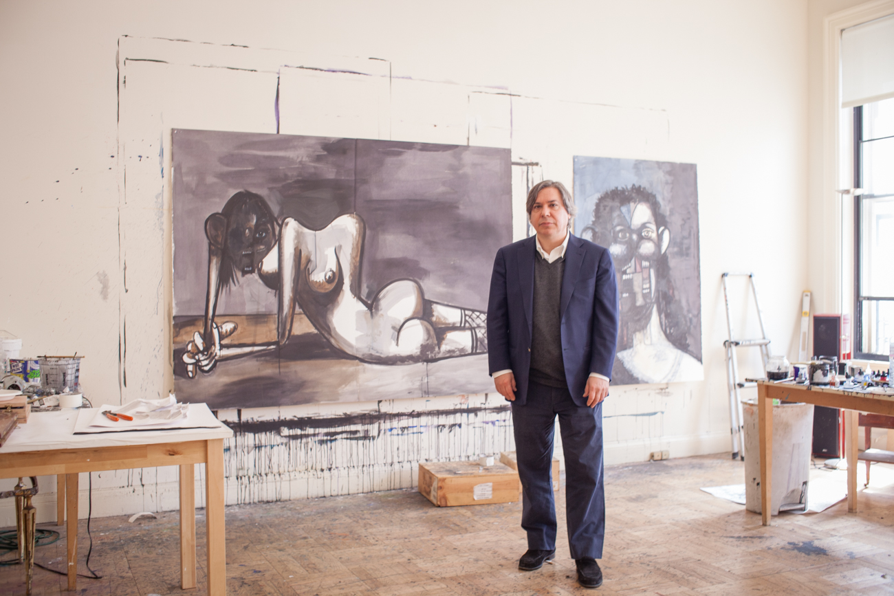 Studio Portraits of Visual Artist Painter George Condo George Condo Portraits in NYC Townhouse Art Studio Paintings of Abstract Disfigured Women