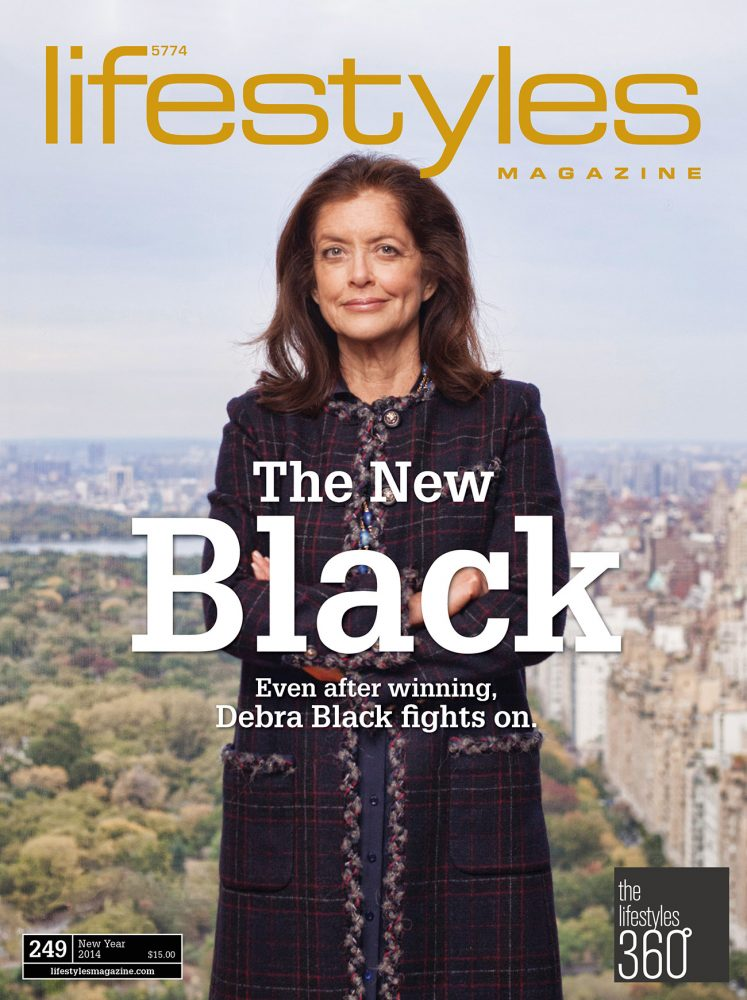 Business portraits of billionaire's wife & cancer survivor Debra Black in NYC hedge fund & private equity offices for cover of Lifestyle Magazine