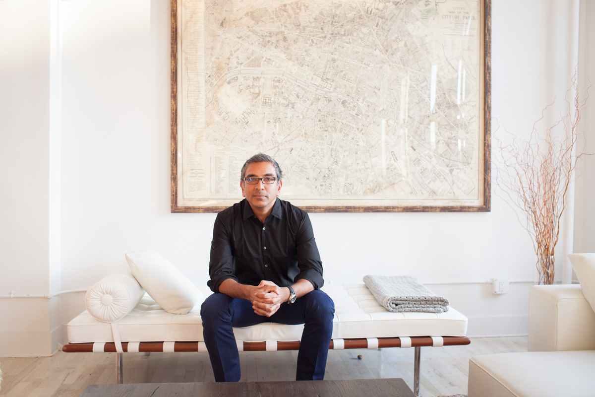 Portrait of Columbia University professor & architect Vishaan Chakrabarti at his home in New York City