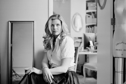 Mamiya Black and white portraits of wedding fashion stylist & founder The Stylish Bride Julie Sabatino in her Manhattan studio Financial TImes London
