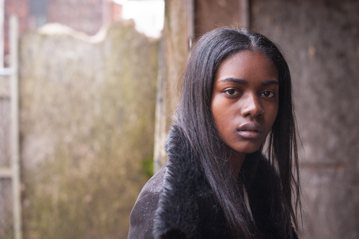 Before Zuri Tibby was Victoria's Secret Pink model, black teen model shot fashion portraits on NYC's gritty urban streets in Bed-Stuy Brooklyn Abandoned Lot Close-up