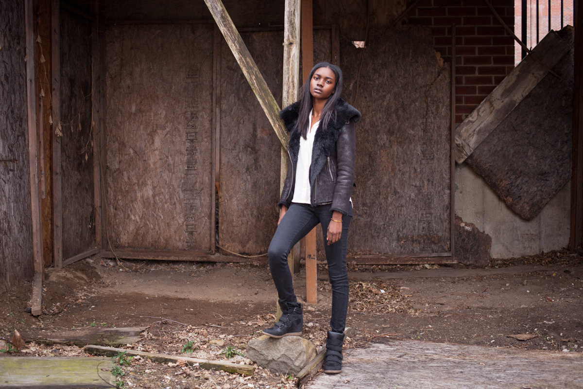 Before Zuri Tibby was Victoria's Secret Pink model, black teen model shot fashion portraits on NYC's gritty urban streets in Bed-Stuy Brooklyn Abandoned Lot