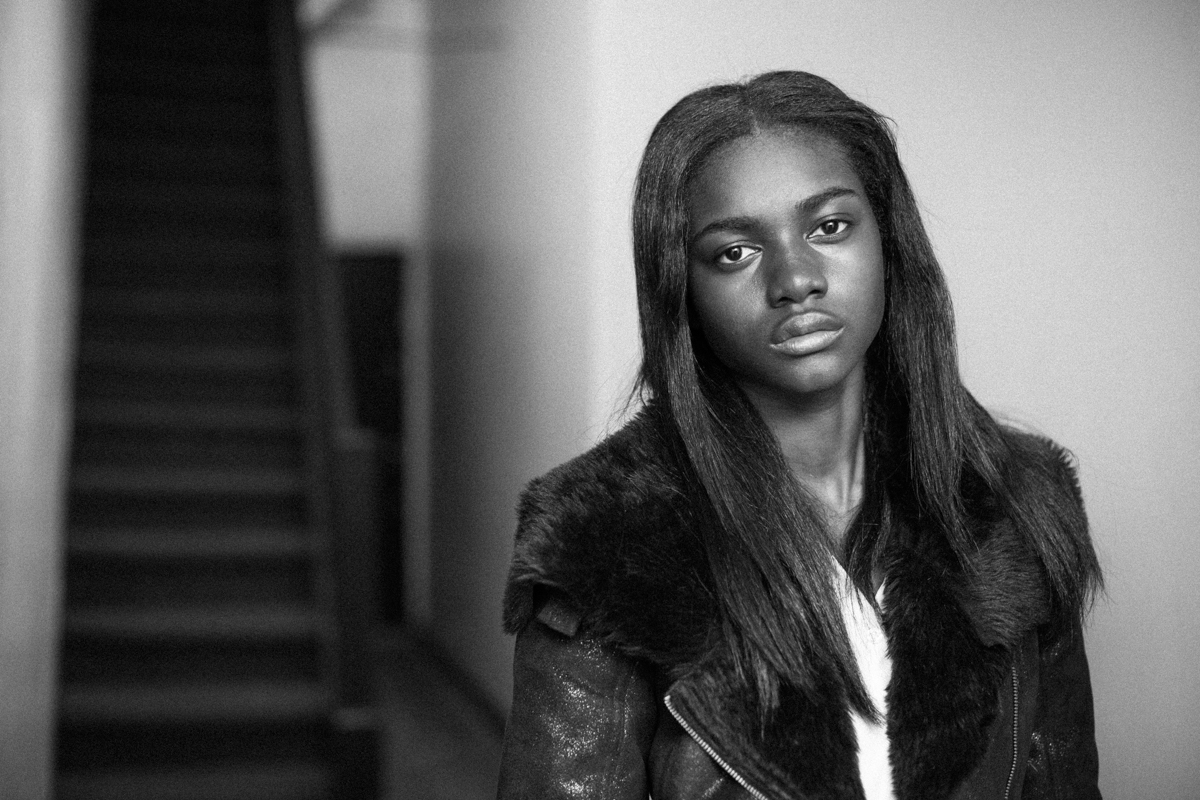 Before Zuri Tibby was Victoria's Secret Pink model, black teen model shot fashion portraits on NYC's gritty urban streets in Bed-Stuy Brooklyn black and white