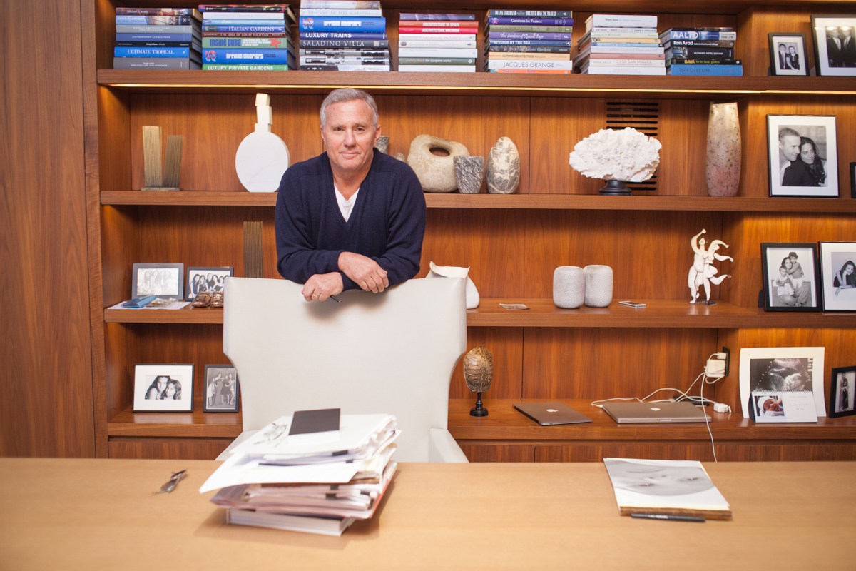 Creative business portraits of studio 54 founder & boutique hotel magnate Ian Schrager at home in office NYC