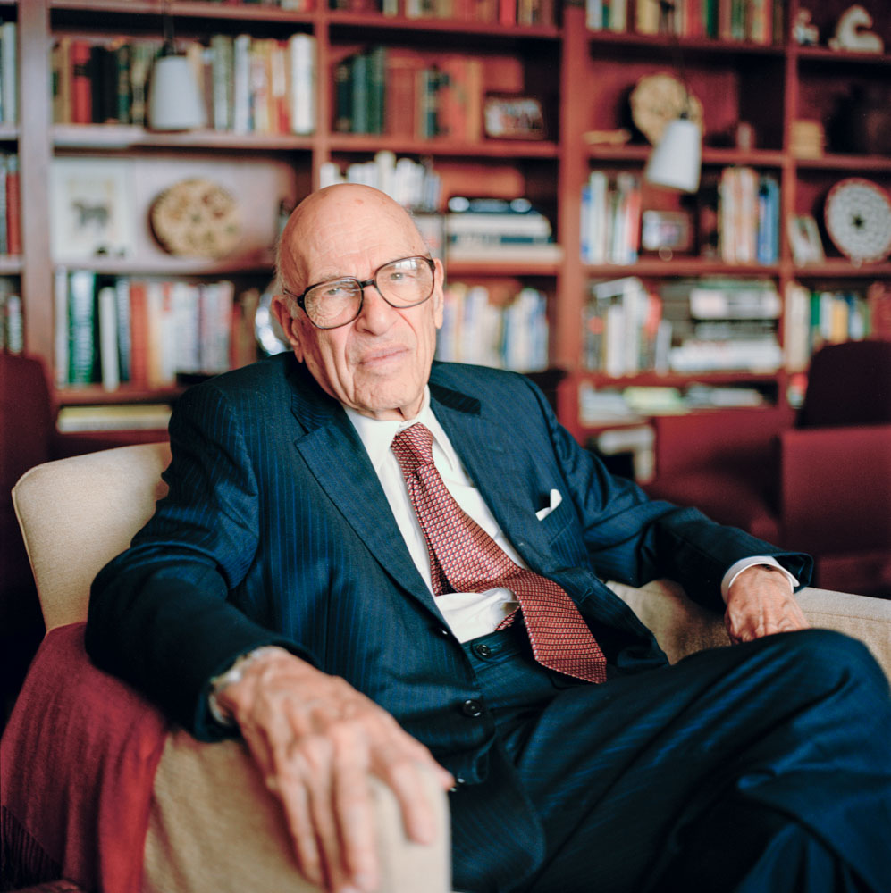 Business Portraits of Centenarian Financial Investor Walter Schloss in Home Library NYC