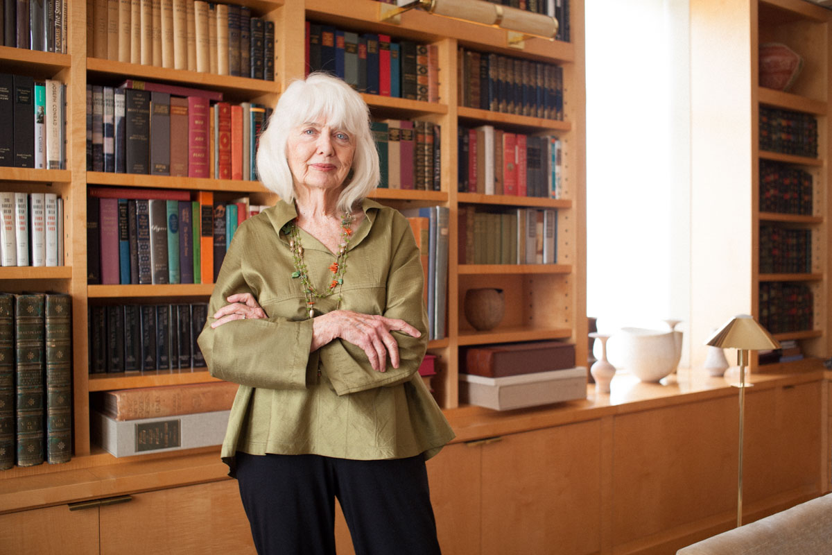 Business Portraits of Landscape Designer Elizabeth Barlow Rogers in Home Library NYC