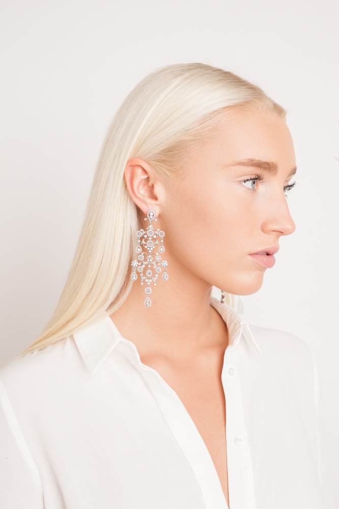 Image of Beautiful Blonde Fashion Model in Chandelier Earrings for Jewelry Lookbook