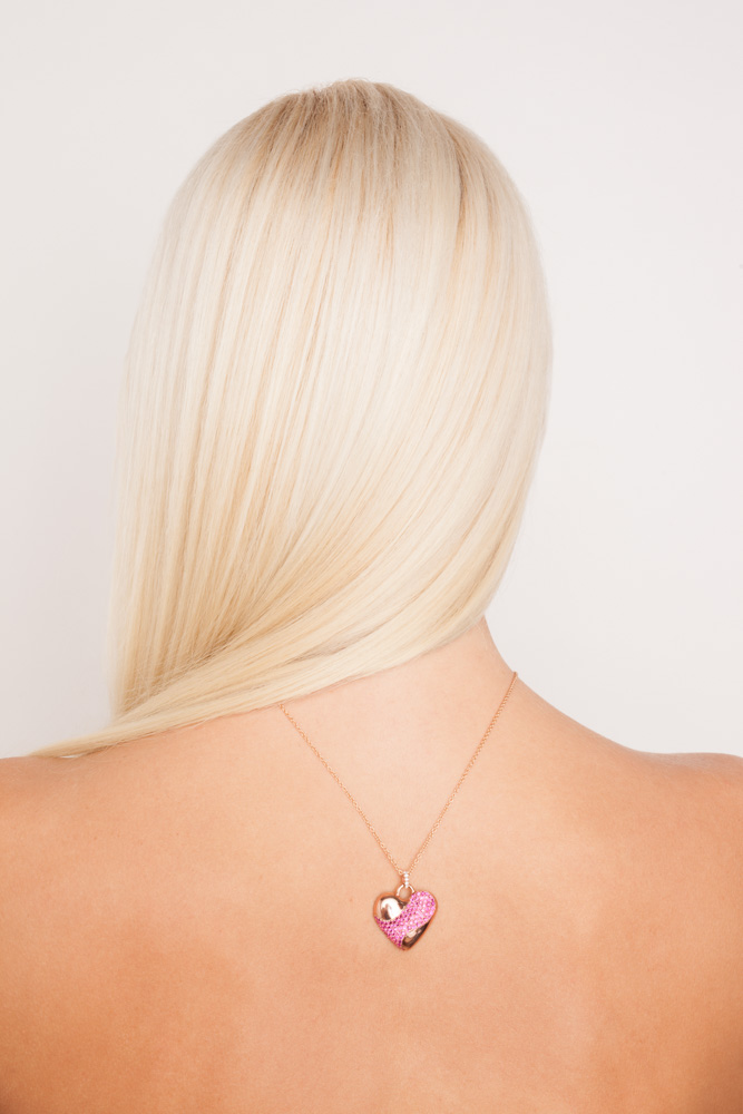 Image of Blonde Fashion Model in Purple & Gold Heart Necklace for Jewelry Lookbook