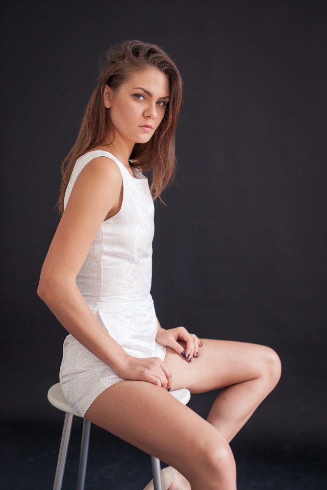 Image of European Model in White Jumper in Studio for Avant Garde Fashion Designer