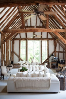 Interior Photos of Two Barns, Exposed Wooden Crossbeams in Bridgehampton Home