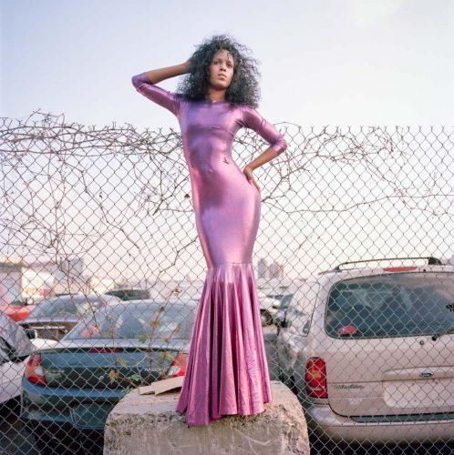 Picture of Elegant Black Fashion Model in Pink Designer Dress by Parking Lot NYC Black Girl