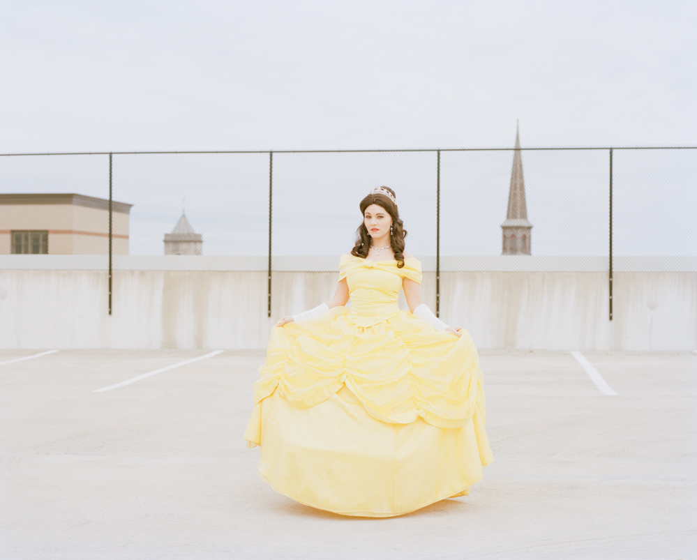 Picture of Impersonator Dressed as Disney Princess Belle in Downtown Parking Garage_