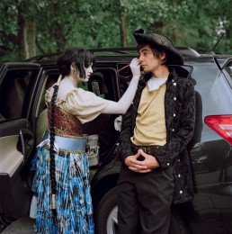 Picture of Woman in Medieval Costume Applying Make-up on Pirate by SUV_