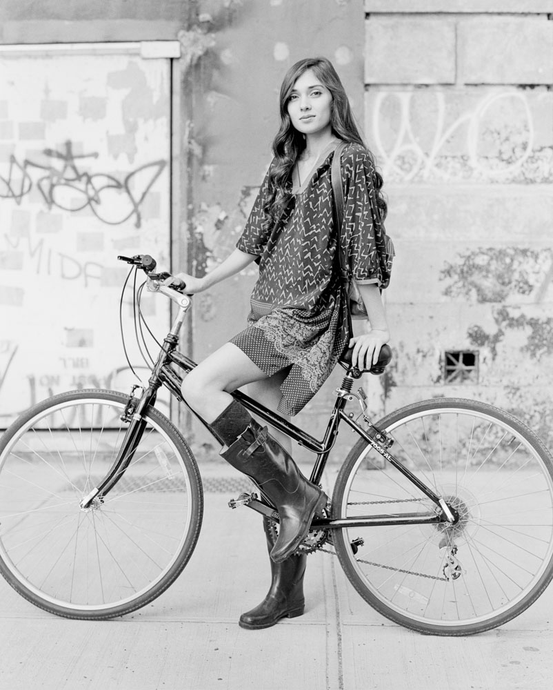 Street Fashion photo of Model on Mountain Bike for French Fashion Designer NYC