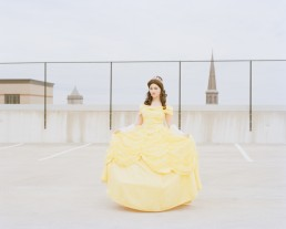 Picture of Impersonator of Disney Princesses Belle in Downtown Parking Garage NJ