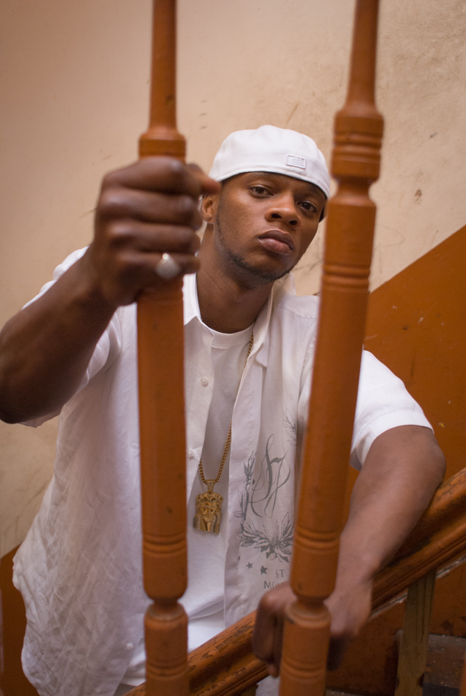 Photo of hip-hop star and rapper Papoose behind bars in abandoned home Bed-Stuy Brooklyn