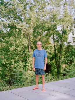 Photo of Writer Gary Shteyngart Standing by Pool's Edge at Red Hook Home