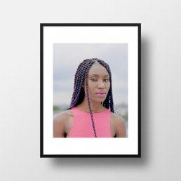 Street Fashion Photography of Striking Athletic Black Model with Pink Lips & Purple Braids on Roof | Fine Art Prints