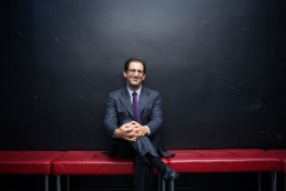 Modern Corporate Headshots - Portrait of Smiling Businessman at Public Theater NYC
