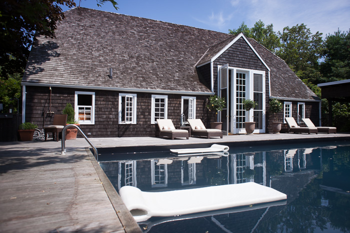 The pool in the back patio at Two Barns, the home of Literary Agent Ed Victor. Bridgehampton, NY