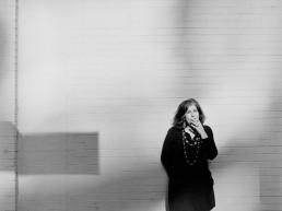 Black and white portrait of Iranian Artist Samira Abbassy in Chelsea NYC Portrait UK Ex-Pat Artist Samira Abbassy on Streets Chelsea High Line Park