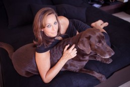 Donna Karan Holding Pet Dog Steph Portrait of Celebrity Fashion Designer Donna Karan Photography of Fashion Icon Celebrity Designer Donna Karan