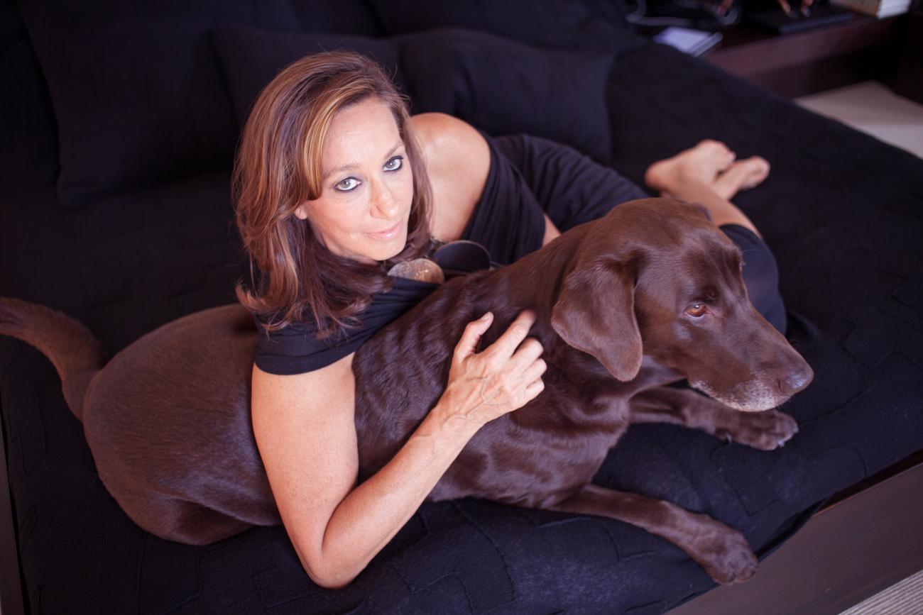 Donna Karan Holding Pet Dog Steph Portrait of Celebrity Fashion Designer Donna Karan Photography of Fashion Icon Celebrity Designer Donna Karan