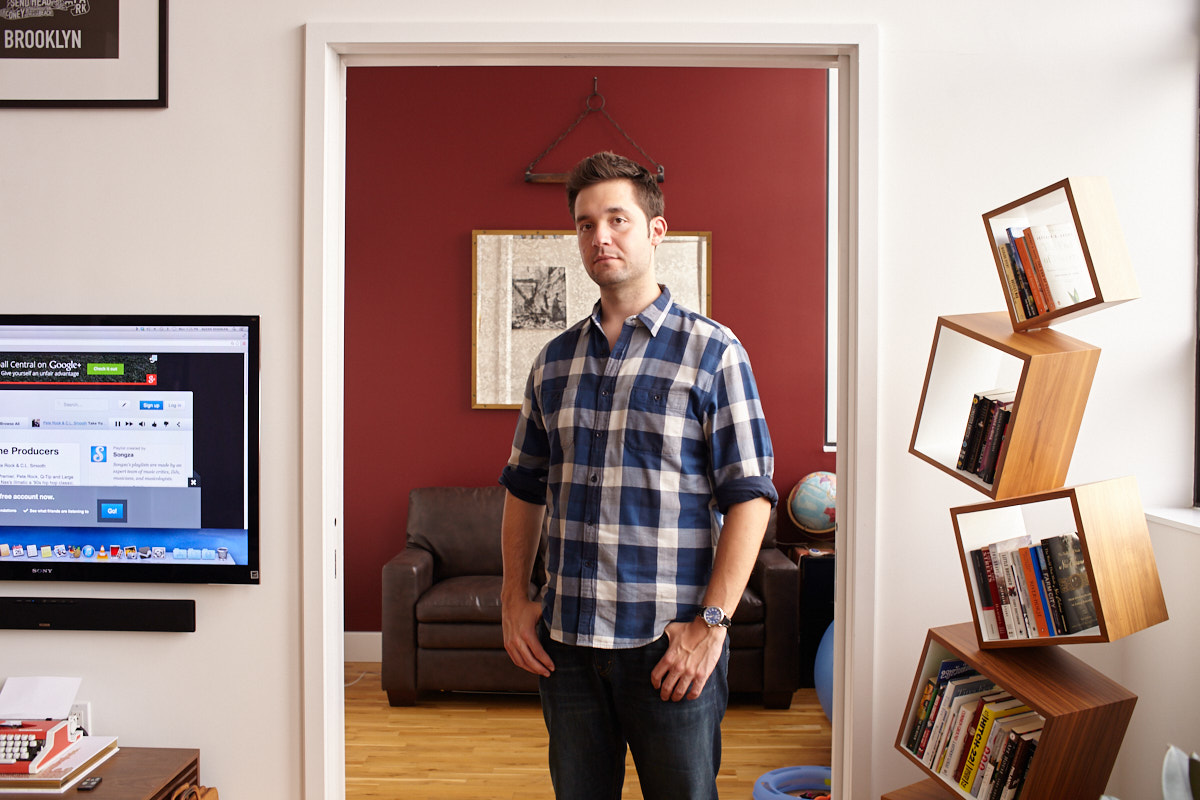 Portrait of Reddit co-founder and tech investor Alexis Ohanian in his Brooklyn apartment, New York