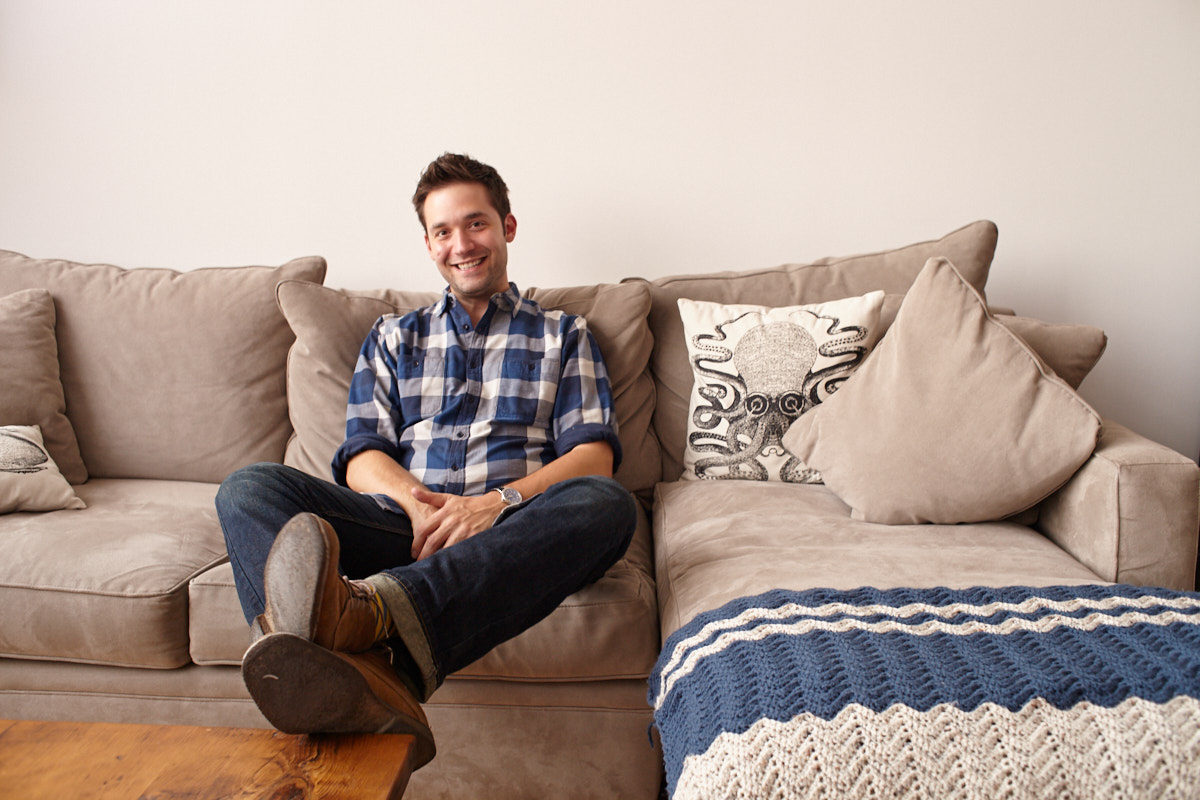 Portrait of Reddit co-founder and tech investor Alexis Ohanian in his Brooklyn apartment, New York City.
