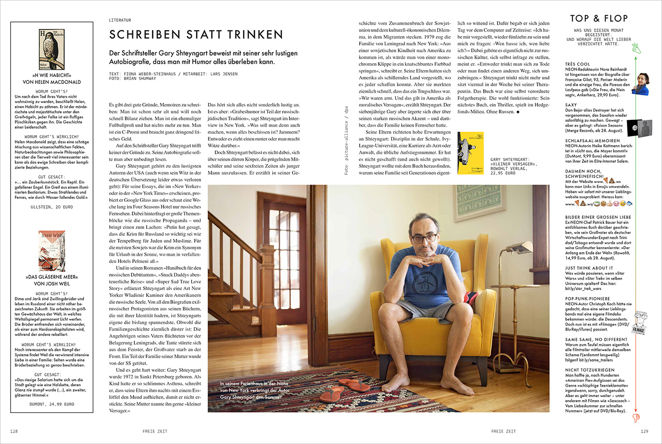 Portrait of eccentric writer Gary Shteyngart at home, to coincide with German translation of his book LIttle Failure Neon Magazine