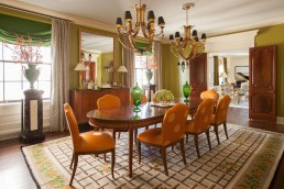 Modern architectural and interior photography NYC | Dining room of fifth ave apartment with chandeliers