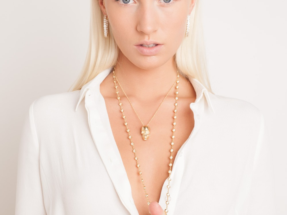 Studio fashion photography NYC jewelry lookbook photographer New York beauty shoot blonde model skull necklace Space 4 Shoots