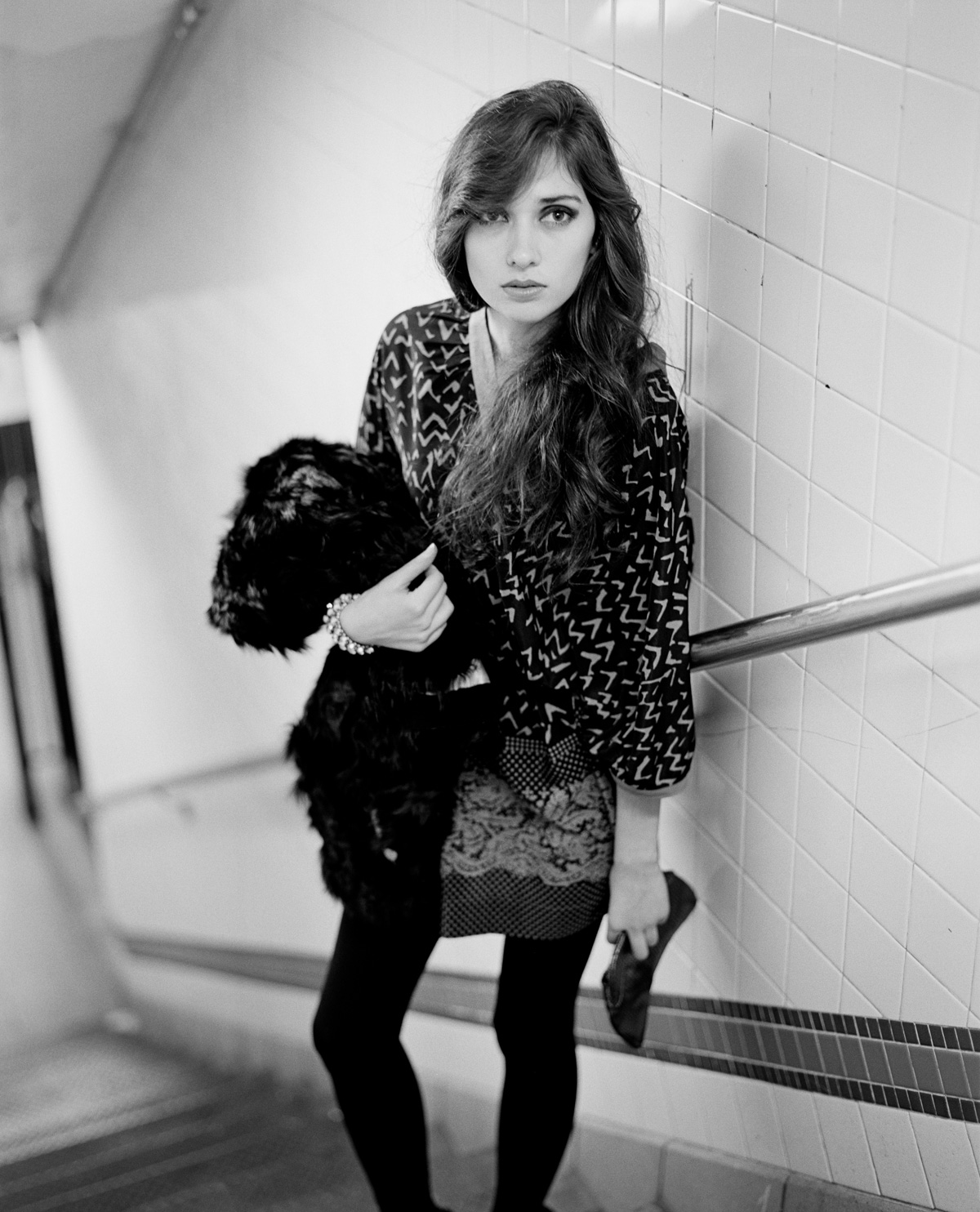 NYC street fashion photography in black and white with model Alexandra Chelaru subway station for French fashion brand Nu New York Union Square