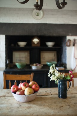 Architecture Photography Dallas | Fruit & Flowers in Rustic Kitchen at Joan Davidson's Estate