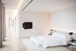 Dallas, Texas Architecture Photographer | Posh White Bedroom in Home of Studio 54 's Ian Schrager