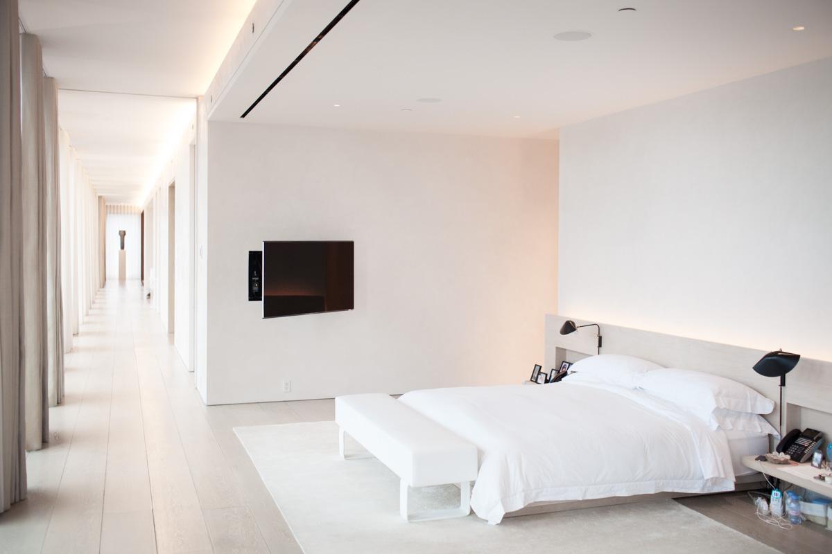 Dallas, Texas Architecture Photographer   Posh White Bedroom in Home of Studio 54 's Ian Schrager