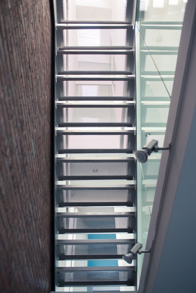 Dallas Architecture Photographer   Steel Stairway in Tighthouse Passive House Park Slope NYC