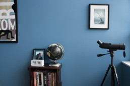 Dallas Architectural Photographer | Blue Bedroom with Binoculars & Globe in Alexis Ohanian's Home