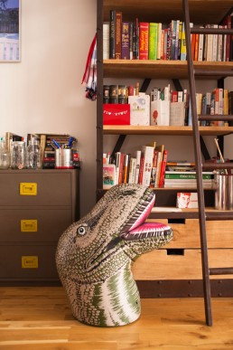 Interior Photo of Giant Dinosaur Head at Home of Reddit's Alexis Ohanian NYC