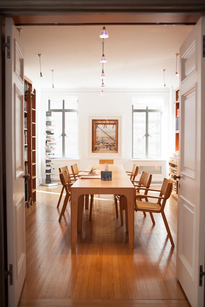 Modern Dallas Interior Photographer   Wood Designer Table in Library at Architect Diana Balmori's Home
