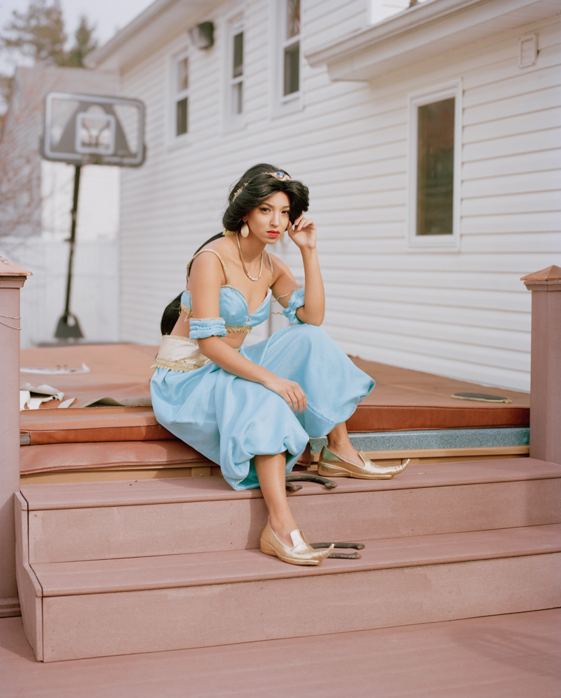 Photo of Latina who impersonates Disney Princess Jasmine in Costume by Jacuzzi NJ Portrait Photography
