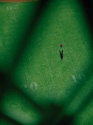 Fine art photography Manhattan Bridge aerial photo of baseball player In outfield of Coleman Square Playground NYC