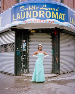 Picture of African-American impersonator of Disney Princess Tiana by Bubble Land Laundromat