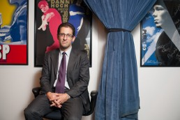 Business Portraits of Dan Singer, Treasurer on Board in Public Theater offices NYC