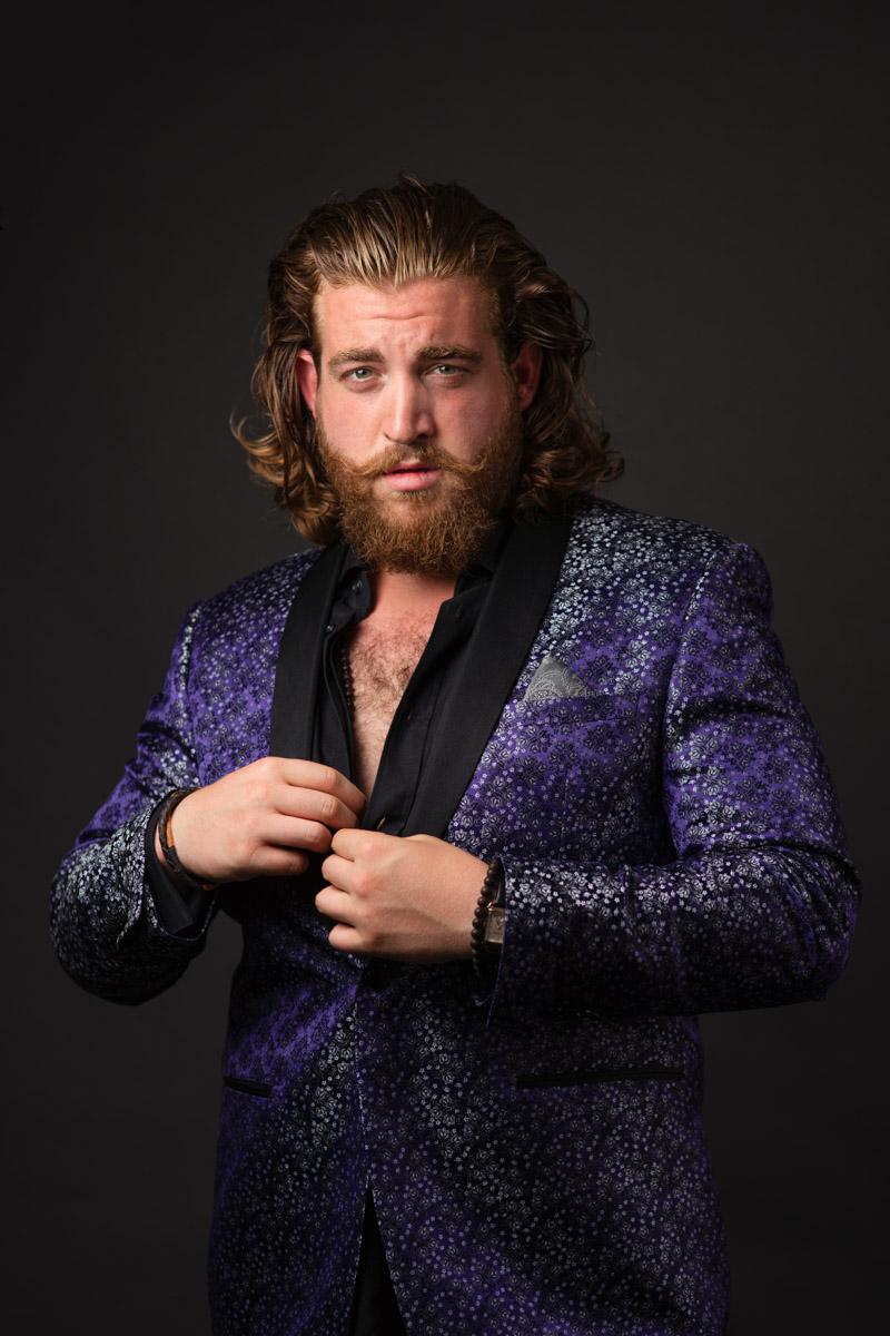 Studio portrait of male fashion model in designer jacket Dallas-Ft Worth