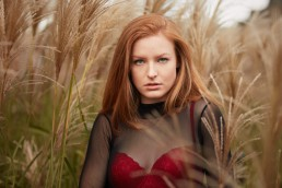Fashion Photographer NYC | Beautiful Red-Head Model in Red Bra at New York City Park