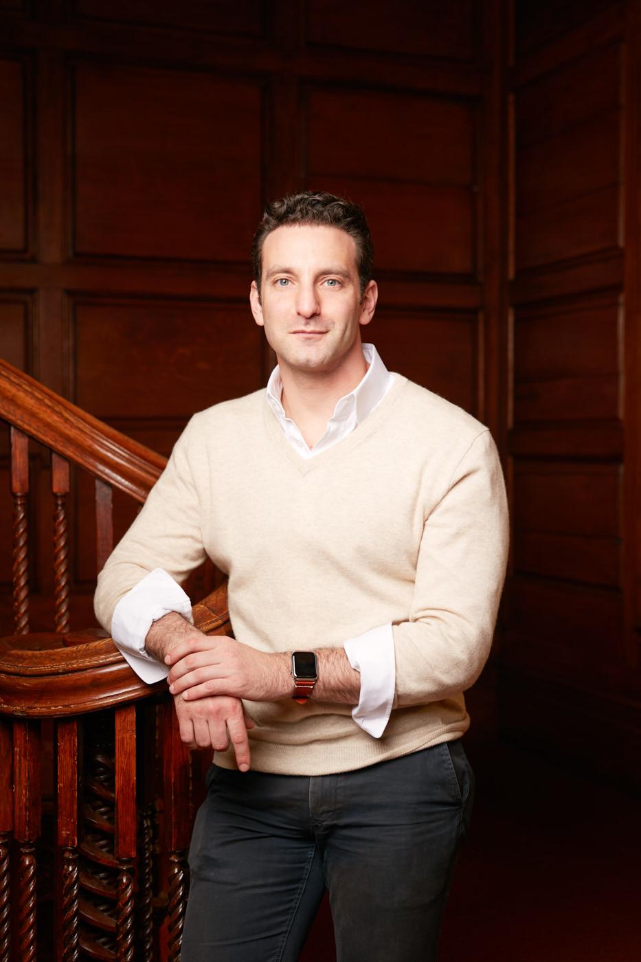 Portraits of Yale University economist Zack Copper in secret society house New Haven, CT