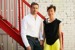 Creative Business Portraits of nArchitects Founders Eric and Mimi in Brooklyn Backyard